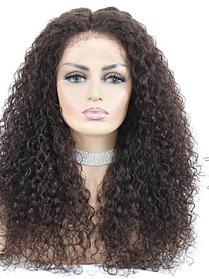 ieftine Rochii Fete-Păr Remy Față din Dantelă Perucă stil Păr Brazilian Jerry curl Natural Perucă 150% Densitatea părului Pentru femei Lung Peruci Păr Uman