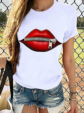 cheap Women's Tops-Women's T-shirt Graphic Prints Round Neck Tops Loose 100% Cotton Basic Top Panda Butterfly Cat