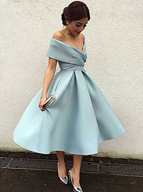 cheap Cocktail Dresses-Back To School A-Line Elegant Vintage Cocktail Party Formal Evening Dress V Neck Short Sleeve Tea Length Matte Satin with Pleats 2020 Hoco Dress