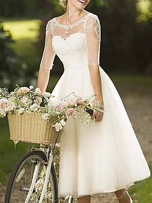 cheap Wedding Dresses-A-Line Wedding Dresses Jewel Neck Knee Length Lace Tulle Half Sleeve Vintage 1950s with Crystals 2020