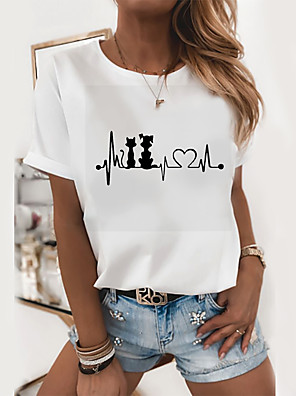 cheap Women's T-shirts-Women's T-shirt Graphic Prints Round Neck Tops Slim 100% Cotton White
