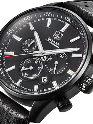 cheap Smart Watches-BENYAR Men's Sport Watch Quartz Modern Style Sporty Casual Water Resistant / Waterproof Leather Black Analog - Black Black / White / Calendar / date / day / Chronograph