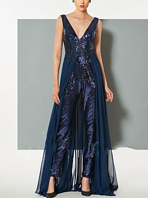 cheap Evening Dresses-Jumpsuits Elegant Beautiful Back Wedding Guest Formal Evening Dress V Neck Sleeveless Floor Length Sequined with Sequin 2020