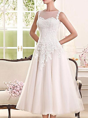 cheap Wedding Dresses-A-Line Wedding Dresses Jewel Neck Tea Length Lace Tulle Sleeveless Vintage 1950s with Appliques 2020