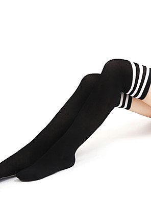 cheap Socks & Hosiery-Women's Medium Stockings - Striped / Sexy Lady / Sports and Outdoors 15D White Red One-Size