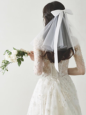 cheap Wedding Slips-Two-tier Sweet Style Wedding Veil Shoulder Veils with Satin Bow 30 cm Tulle