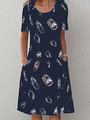 preiswerte Für Junge Frauen-Damen A-Linie Kleid Knielanges Kleid - Kurze Ärmel Druck Druck Sommer Freizeit 2020 Weiß Blau L XL XXL XXXL XXXXL XXXXXL