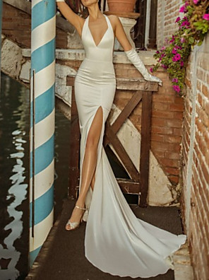 cheap Wedding Dresses-Mermaid / Trumpet Wedding Dresses Plunging Neck Chapel Train Stretch Satin Sleeveless Vintage Sexy Backless with Split Front 2020
