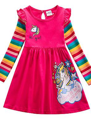 levne Jednorožec Šaty-Děti Dívčí Sladký Cute Style Unicorn Proužky Komiks Písmeno Tisk Dlouhý rukáv Délka ke kolenům Šaty Vodní modrá
