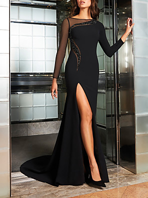 cheap Evening Dresses-Sheath / Column Elegant Beautiful Back Engagement Formal Evening Dress Illusion Neck Long Sleeve Sweep / Brush Train Stretch Satin with Beading Split 2020 / Illusion Sleeve