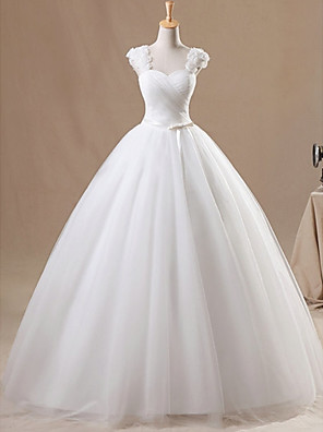 cheap Wedding Dresses-Ball Gown Wedding Dresses Jewel Neck Floor Length Chiffon Tulle Sleeveless Formal with Ruched Appliques 2020