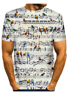 cheap Men's Tees & Tank Tops-Men's Daily T-shirt Graphic Print Short Sleeve Tops Basic Round Neck White