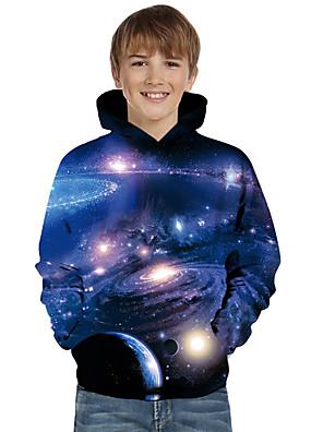 cheap Boys' Tops-Kids Toddler Boys' Active Basic Galaxy 3D Tie Dye Print Long Sleeve Hoodie & Sweatshirt Blue