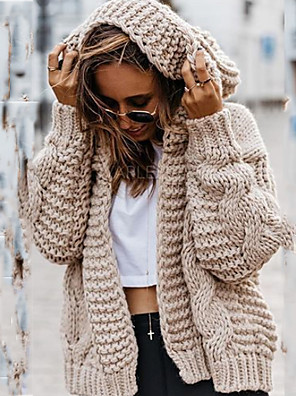 cheap Women's T-shirts-Women's Solid Colored Cardigan Long Sleeve Loose Oversized Sweater Cardigans Halter Neck Fall Black Beige