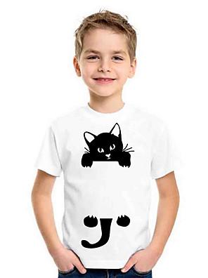 cheap Boys' Tops-Kids Boys' Sports & Outdoors Basic Holiday Cat Animal Print Short Sleeve Tee White