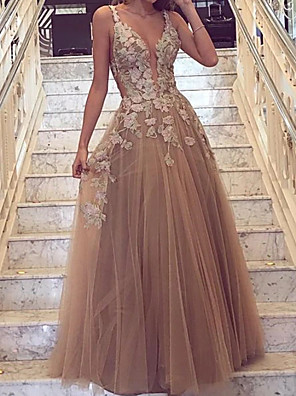 cheap Evening Dresses-A-Line Cut Out Floral Engagement Prom Dress V Neck Sleeveless Floor Length Tulle with Overskirt Appliques 2020