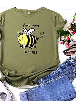 cheap Women's T-shirts-Women's T-shirt Animal Letter Print Round Neck Tops 100% Cotton Basic Summer Wine White Yellow