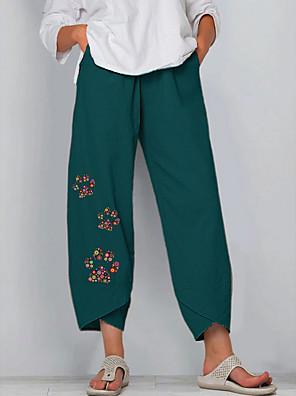 cheap Plus Size Swimwear-Women's Basic Chinos Pants - Floral Blue Khaki Green S / M / L