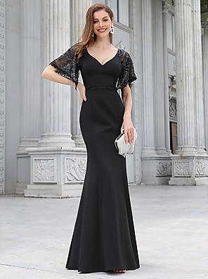 cheap Evening Dresses-Mermaid / Trumpet Elegant Vintage Party Wear Formal Evening Dress V Neck Half Sleeve Floor Length Jersey with Sequin 2020