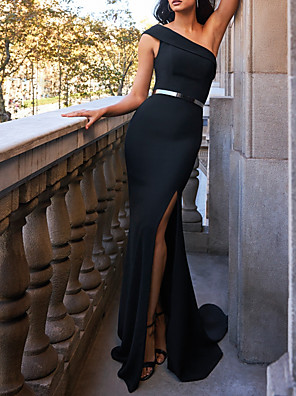 cheap Prom Dresses-Mermaid / Trumpet Beautiful Back Sexy Engagement Formal Evening Dress One Shoulder Sleeveless Sweep / Brush Train Stretch Satin with Sash / Ribbon Split 2020