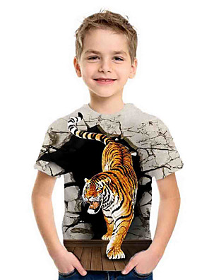 cheap Boys' Tops-Kids Boys'Basic Summer Holiday Tiger Animal Print Short Sleeve Tee Gray