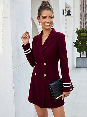 cheap Women's Coats & Trench Coats-Women's Double Breasted Longline Blazer Wine S / M / L