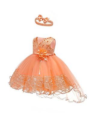 baratos Vestidos para Meninas-bebê meninas festa ativo / básico / aniversário cor sólida rendas sem mangas assimétrica algodão princesa vestidos de férias