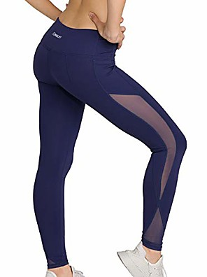 cheap Gymnastics-yoga pants for women, fitness running workout mesh leggings, tummy control, side pockets navy