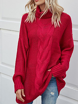 cheap Women's Tanks & Camisoles-Women's Solid Colored Pullover Long Sleeve Loose Sweater Cardigans Turtleneck Fuchsia Light Blue
