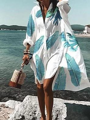 cheap Mini Dresses-Women's Shirt Dress Knee Length Dress - Long Sleeve Geometric Print Summer Fall V Neck Casual Daily Loose 2020 White Purple Red Fuchsia Orange Rainbow Light Blue S M L XL XXL 3XL