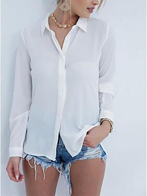 cheap Women's Blouses & Shirts-Women's Shirt Solid Colored Long Sleeve Shirt Collar Tops Basic Top White Black
