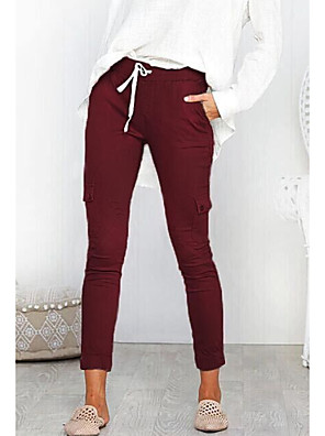 cheap Women's Pants-Women's Basic Chinos Pants - Solid Colored Wine Black Army Green S / M / L