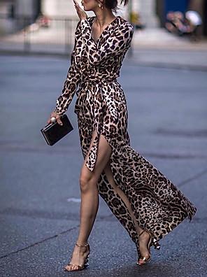 cheap For Young Women-Women's Sheath Dress Maxi long Dress - Long Sleeve Leopard Split Print Summer V Neck Casual Daily 2020 Brown S M L XL XXL XXXL