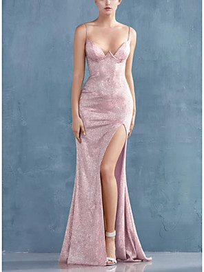 cheap Evening Dresses-Mermaid / Trumpet Sexy Sparkle Engagement Formal Evening Dress Spaghetti Strap Sleeveless Sweep / Brush Train Stretch Satin with Sleek Split 2020
