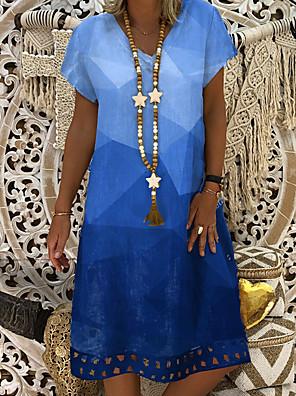 cheap Knee Length Dresses-Women's Shift Dress Knee Length Dress - Short Sleeve Tie Dye Summer V Neck Casual Daily 2020 Blue L XL XXL XXXL