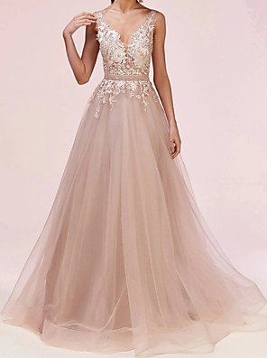 cheap Evening Dresses-A-Line Celebrity Style Floral Engagement Formal Evening Dress V Neck Sleeveless Floor Length Tulle with Sash / Ribbon Appliques 2020