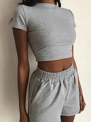 cheap Oversize Sweater-Women's Basic Set Short Solid Colored Pant