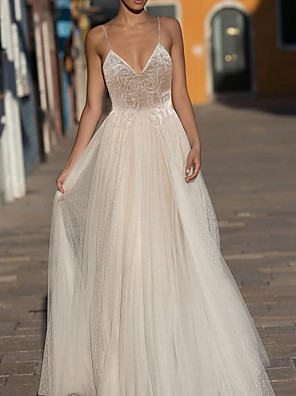 cheap Wedding Dresses-A-Line Wedding Dresses V Neck Sweep / Brush Train Lace Tulle Polyester Spaghetti Strap Formal Boho Plus Size with Appliques 2020