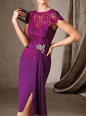 cheap Mother of the Bride Dresses-Sheath / Column Mother of the Bride Dress Elegant Jewel Neck Knee Length Chiffon Lace Short Sleeve with Sash / Ribbon Split Front 2020