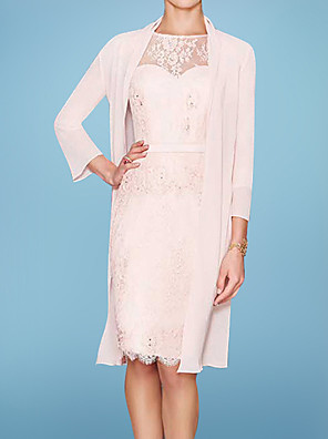 cheap Cocktail Dresses-Two Piece Sheath / Column Mother of the Bride Dress Elegant Illusion Neck Knee Length Chiffon Lace 3/4 Length Sleeve with Sash / Ribbon Embroidery 2020