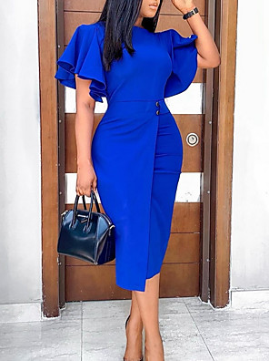 cheap Party Dresses-Women's Shift Dress Knee Length Dress - Short Sleeve Solid Color Fall Work 2020 Blue Purple Wine Green S M L XL XXL 3XL