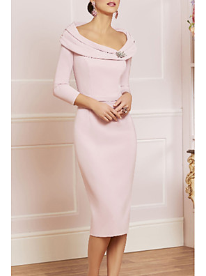 cheap Mother of the Bride Dresses-Sheath / Column Mother of the Bride Dress Elegant Vintage Plus Size Scoop Neck Knee Length Jersey 3/4 Length Sleeve with Beading Crystal Brooch 2020