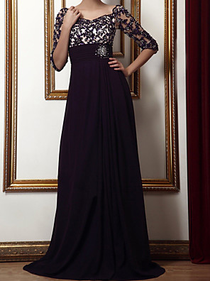 cheap Mother of the Bride Dresses-Sheath / Column Elegant Floral Engagement Formal Evening Dress Scalloped Neckline 3/4 Length Sleeve Sweep / Brush Train Chiffon with Beading Appliques 2020