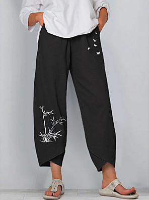 cheap Women's Blouses & Shirts-Women's Basic Loose Chinos Pants Plants Quick Dry Black Blue Gray S M L