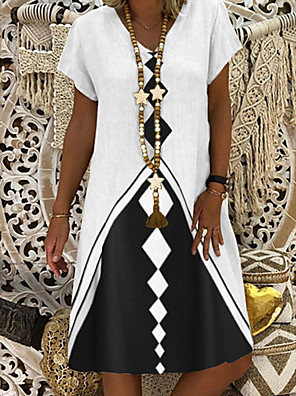 cheap Plus Size Dresses-Women's Shift Dress Knee Length Dress - Short Sleeve Geometric Summer Casual Daily 2020 White M L XL XXL XXXL