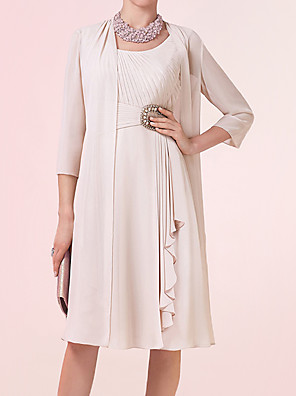 cheap Mother of the Bride Dresses-Two Piece Sheath / Column Mother of the Bride Dress Elegant Jewel Neck Knee Length Chiffon 3/4 Length Sleeve with Sash / Ribbon Pleats Beading 2020