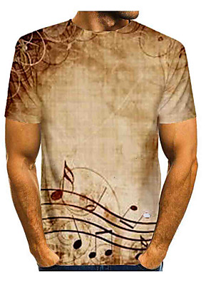 cheap Men's Tees & Tank Tops-Men's Daily T-shirt Graphic Print Short Sleeve Tops Basic Round Neck Khaki