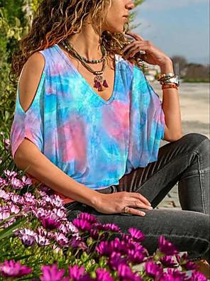 cheap Women's T-shirts-Women's T-shirt Tie Dye Round Neck Tops Batwing Sleeve Loose Basic Summer Blue Purple Blushing Pink
