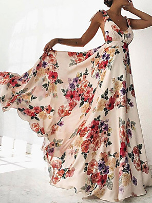cheap Plus Size Dresses-A-Line Beautiful Back Floral Holiday Prom Dress V Neck Sleeveless Floor Length Satin with Pattern / Print 2020