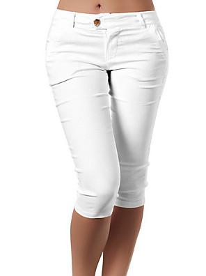 cheap Women's Pants-Women's Basic Slim Shorts Pants Solid Colored White Black Blue S M L